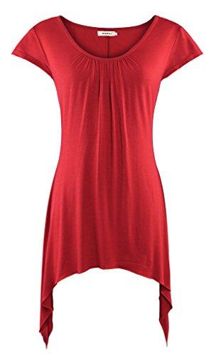 Shirred Ruffle Cardigan (Bepei Womens Short Sleeves Scoop Neck Handkerchief Hemline Tunic Top Red)