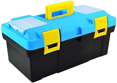 ツールオーガナイザー 日常の工具部品収納収納のためのトレイコンフォートハンドルとラッチツールボックスが付いているプラスチック道具箱 ポータブルツールボックス (Color : Light blue-B)