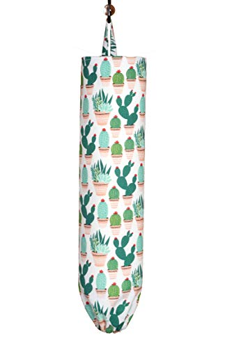 Plastic Bag Holder | Grocery Shopping Bag Organizer | Carrier | Dispenser | Handmade in the USA | Supporting American Families | Large (Cactus-Cacti soft flannel)