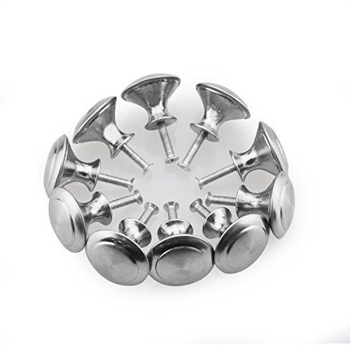 Bluesky 10Pcs Silver Tone Round Shape Furniture Pull Handle Knob Grip 28mm Dia for Cabinet Cupboard Dresser Door Drawer - Polished Nickle Accents