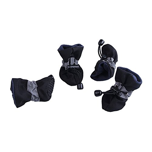 Royal Wise Antiskid Doggie Boots Pet Dog Cat Shoes Black Soft and Breathable For Could Weather Small Dogs 1-5lb (S, SprBlack) Cat Shoes Boots