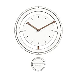 SHISEDECO Pendulum Round Wall Clock Home Décor, Battery (Not Included) Operated Silent Non Ticking Large Stylish Wood Wall Clock for Living Room Bedroom Kitchen Office (White Color, 12 Inch)