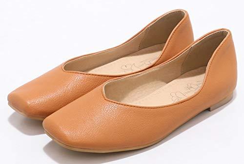 Aisun Plates Confortable Enceinte Chaussures Femme Ballerines Bout Carré Brun Tl351FKucJ