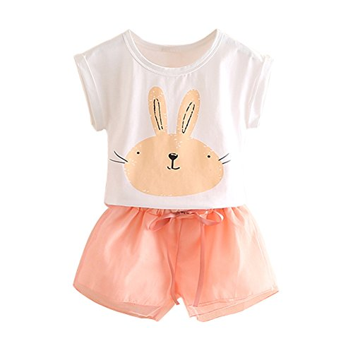 Mud Kingdom Toddler Girls Outfits Bunny Cute Tops and Shorts 3T White ()