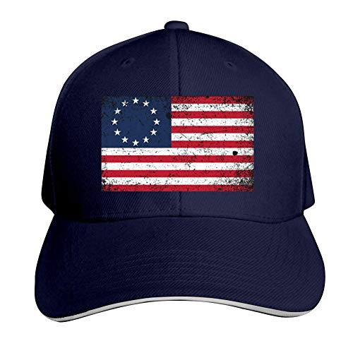 Distressed Betsy Ross Flag Adjustable Baseball Cap, Old Sandwich Cap, Pointed Dad Cap Navy