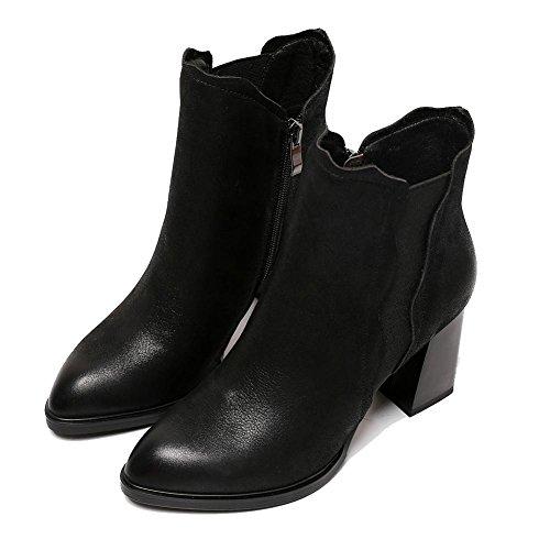 de Cremallera Zapatos BLACK cómodo alta 39 de Retro botas Side talones Tobillo Martin Casual de elástica mujeres BLACK 38 corto Piel espesor Las OwUt1x4