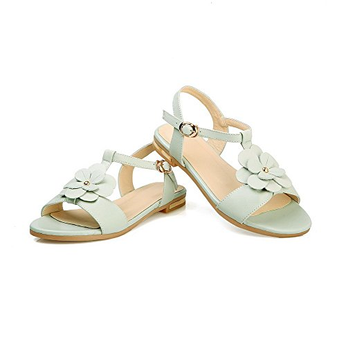 VogueZone009 Women's Soft Material Buckle Open Toe Low-Heels Solid Sandals Blue NUOcw7Di