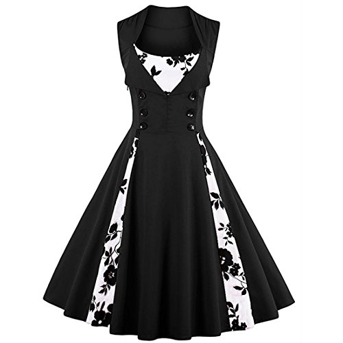 Vintage Retro Plus Size Polka Dot Swing Cocktail Party Dress (M, Floral&Black) (Polka Dot Cocktail Dresses)