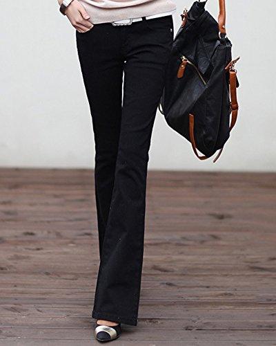 Noir Ample Basse Jeans Pantalon Large Vintage Stretch Femme Taille Bootcut tzwUYnqz7