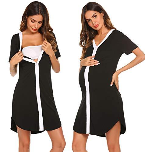Ekouaer Nursing Sleepshirt Women Button-Front Nightshirt Short Sleeve Nightgown Breastfeeding...