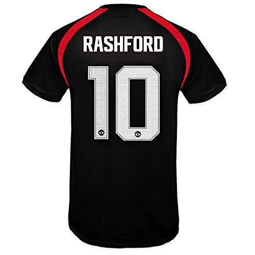 Manchester United FC Boys Rashford 10 Poly Training Kit T-Shirt Black 10-11Yrs