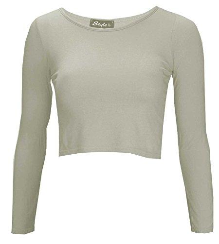 Thever Women Ladies Long Sleeve Plain Scoop Neck Crop Top Sz 8-14 (S/M, Cream)