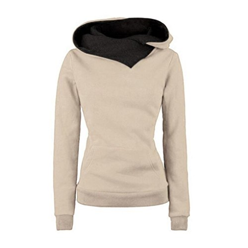 Kwok Women Long Sleeve Hooded Cotton Coat Pullover Hoodie Sweatshirt Sweater (Small, Khaki)