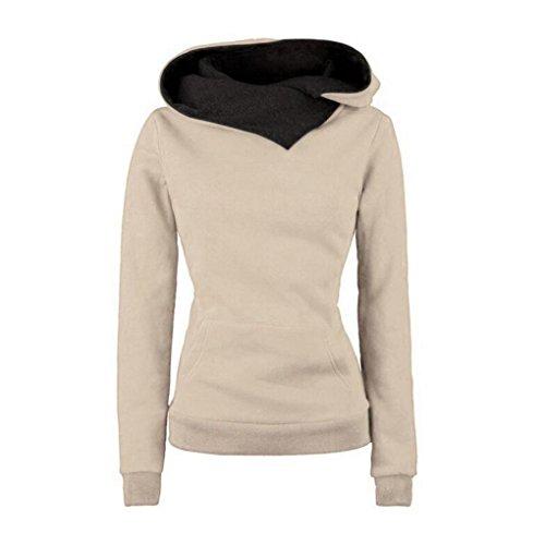 Kwok Women Long Sleeve Hooded Cotton Coat Pullover Hoodie Sweatshirt Sweater (Small, Khaki)