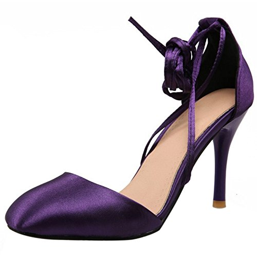 COOLCEPT Women Fashion Lace Up Sandals Closed Toe Stiletto Shoes Purple ikCwwH