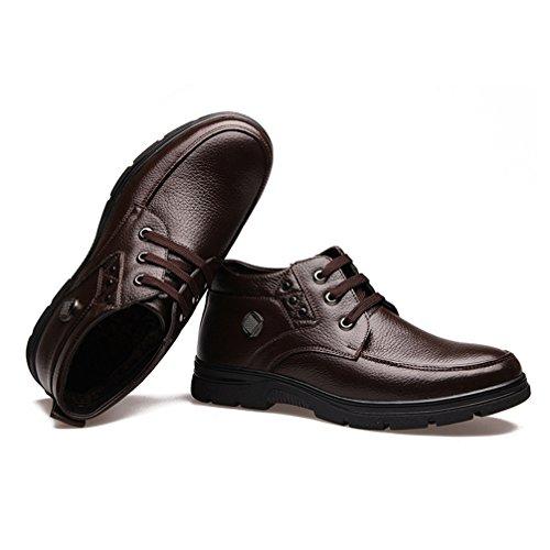 ケージナラーバー音節[XINXIKEJI]ウォーキングシューズ メンズ ショートブーツ カジュアル ビジネスシューズ 裏ボア 防寒 防滑 歩きやすい 心地良い コンフォート ハイカット ワークブーツ 紳士靴 24.0-29.0cm 黒/茶色