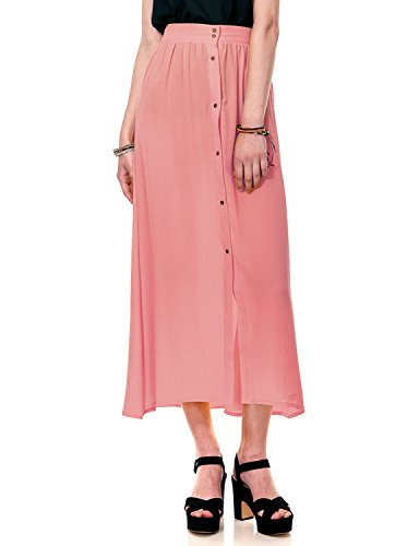 Regna X Boho for Womans Button Down Stylish Textured Pink 3XL Plus Maternity Tall Chiffon Long Maxi Dress Skirt by Regna X