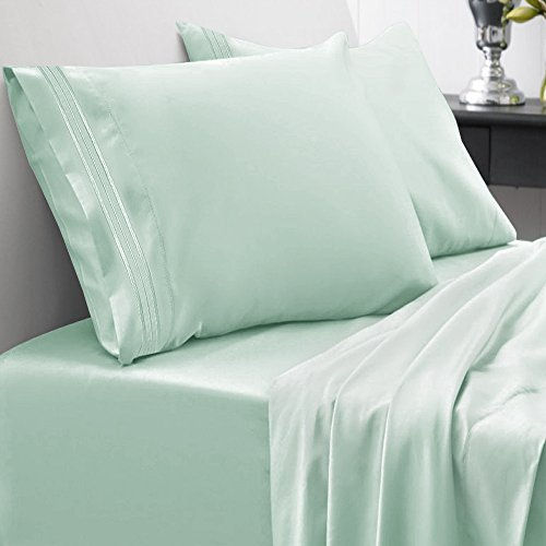 Sweet Home Collection 1800 Thread Count Egyptian Quality Brushed Microfiber  4 Piece Deep Pocket Bed Sheet Set - All Sizes, 12 Colors - Queen, Mint - Mint Green Bedding: Amazon.com