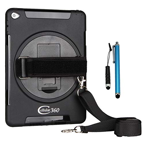 Cellular360 Shockproof Case for Apple iPad Mini 4, Car Headrest Mount Case with 360 Degree Rotatable Kickstand, Handle and Adjustable Shoulder Strap (Black)