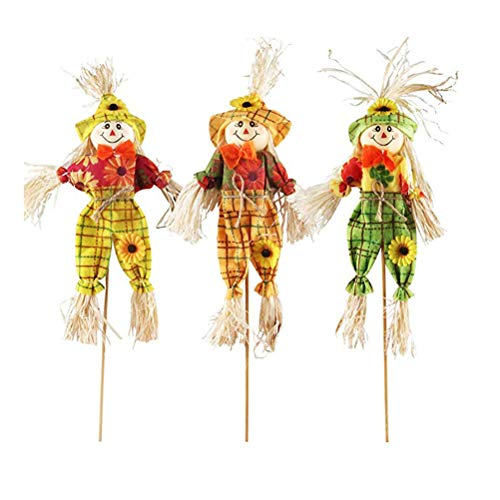 (HEALLILY 3pcs Halloween Scarecrow Decorations Small Scarecrow Decoration Thanksgiving Decoration Props Ornaments Pendant for Halloween Party (40cm, Random Style))