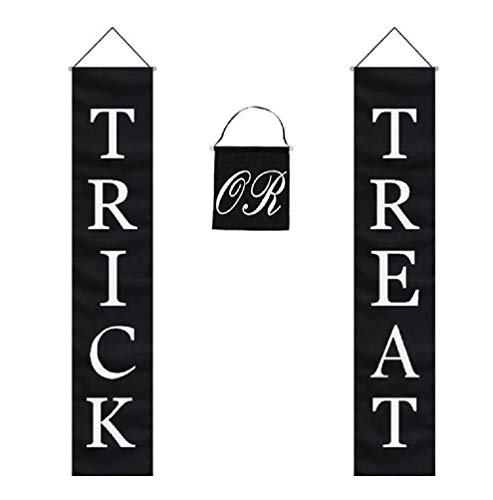 Trick or Treat Halloween Banner 3-Pc Set Home or Office Decor Ready To Hang ()