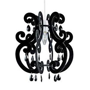Modern easy fit black flock finish chandelier effect pendant modern easy fit black flock finish chandelier effect pendant shade with black droplets mozeypictures Gallery