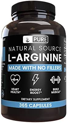100 Pure L-Arginine 90-Day Supply 365 Capsules No Magnesium or Rice Filler, Nitrous Oxide Booster, Made in USA, Gluten-Free, Vegetarian, 800mg Extra Potent All-Natural L-Arginine