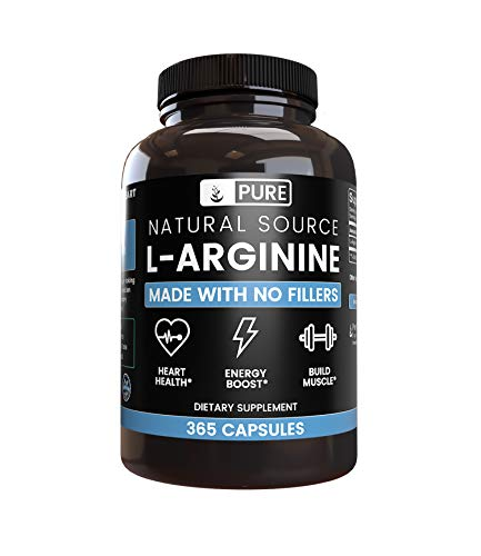 100% Pure L-Arginine   90-Day Supply  365 Capsules  No Magnesium or Rice Filler, Nitrous Oxide Booster, Made in USA, Gluten-Free, Vegetarian, 800mg Extra Potent & All-Natural L-Arginine