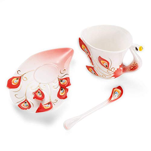 Collectable Fine Arts China Porcelain Tea Cup and Saucer Coffee Cup Peacock Theme Romantic Creative Present for Wedding/christmas Three Sets (red)