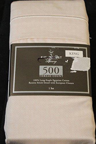 - Fieldcrest Luxury, 100% Long-Staple Egyptian Cotton Pillowcase Set, 500 Thread Count, Blush Geo, KING