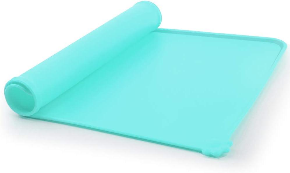 Cian-Azul COSDDI Alfombrilla Silicona para Comedero de Mascota 48.5 x 30 x 0,5cm con Alfombra Antideslizante de Silicona para Perros Grande//Medianos y Gatos