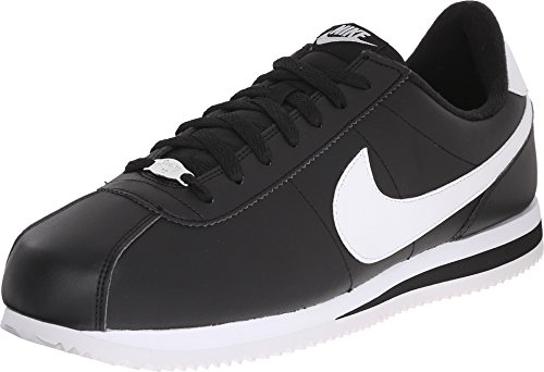 Basic Plain Leather - Nike Mens Cortez Basic Leather Casual Shoe Black/White/Metallic Silver 13 D(M) US
