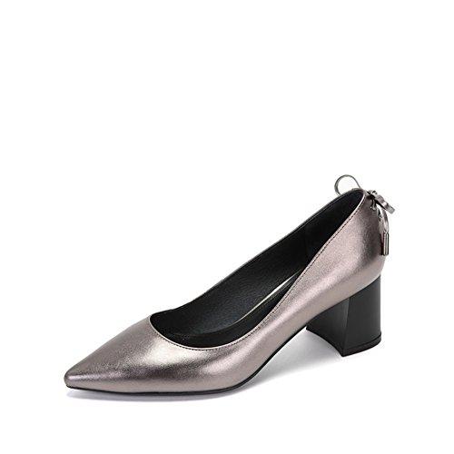 Damen Fell Schuhe,Spitze Schuhe-B Fußlänge=24.3CM(9.6Inch)