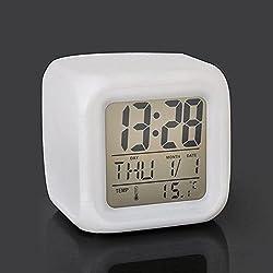 UNAKIM-Digital Time Clock 7 LED Change Colors Date Thermometer Glowing Kids Desk Alarm