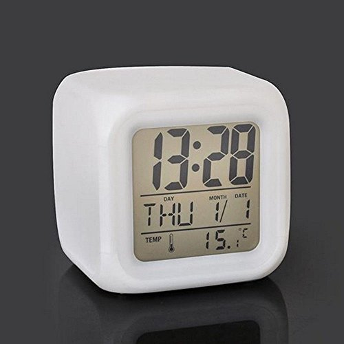 [MAZIMARK--Digital Time Clock 7 LED Change Colors Date Thermometer Glowing Kids Desk Alarm] (Michael Jackson Black Or White Costume)