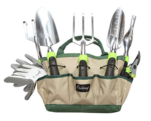 Finnhomy 8 Piece Garden Tool Set with Garden Tote Bag and Work Gloves - Hand Tools with Ergonomic Handles Including Trowel, Cultivator, Transplanter, Fork, Weeder, Pruning Shears by Finnhomy