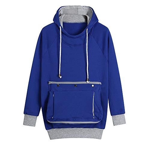 - Clearance! sfe Women Pet Pocket Hoodie Sweatshirt Dog Cat Carry Pocket Hooded Pullover Sportswear (L, Blue)
