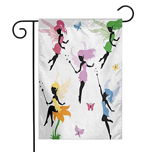 seedine Premium Garden Flag Holiday Decoration Fantasy Cute Pixie Spirit Elf Fairies Flying with Butterflies Girls Princess Flowers Design 12.5 x 18 Inch Multicolor