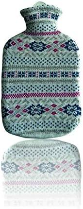 Sänger Gummi-Wärmflasche mit Strickbezug aus Baumwolle (Fjord)