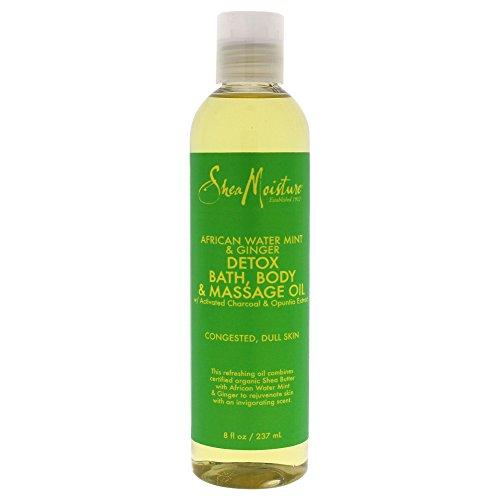 Shea Moisture African Water Mint & Ginger Detox Bath-Body & Massage Oil for Unisex, 8 Ounce - Detox Body Massage