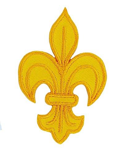 Patch ecusson brod/é thermocollant fleur de lys jaune royaliste louis xvi