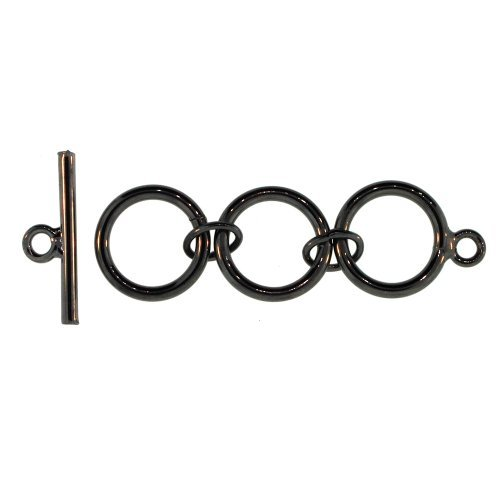6 Pair 15mm Loop with 22mm Bar Gun Metal Brass Toggles 66233gm - Brass Toggle Bar
