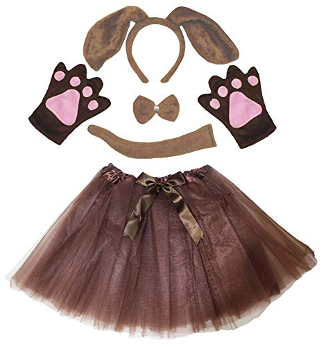 Petitebella Dog Headband Bowtie Tail Gloves Tutu Lady 5pc Costume (One Size, Brown Dog)