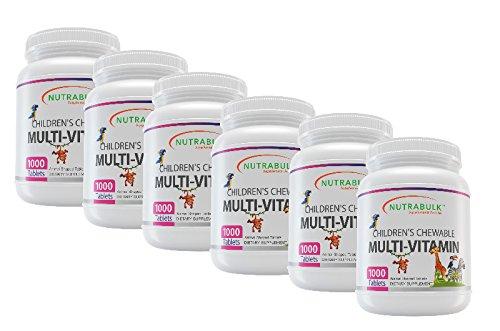 NutraBulk Children's Chewable Multi-Vitamin Tablets for Immune, Bone, and Brain Support - 6000 Count (6 Bottles of 1000) by NutraBulk