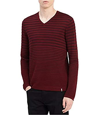 Calvin Klein Mens Striped Knit Pullover Sweater