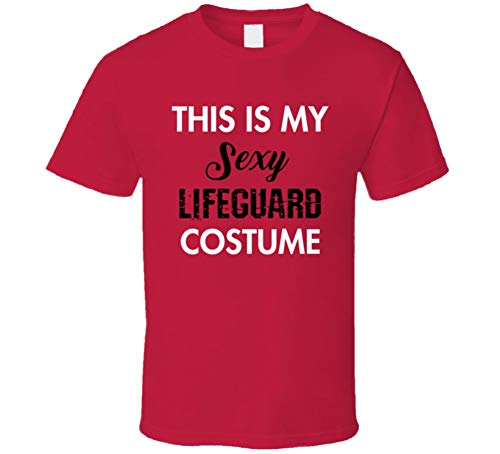This is My Sexy Lifeguard Costume Tee Funny Halloween Party Occupation T Shirt L Red]()
