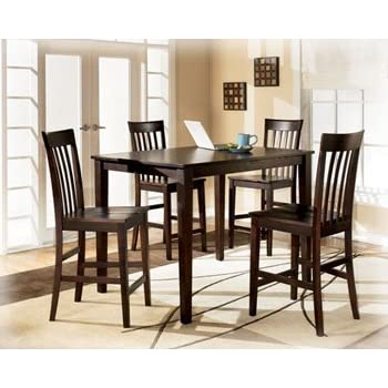 this item ashley hyland d258 223 5 piece dining room set with 1 counter height table and 4 bar stools in reddish - Dining Room Items