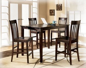 Ashley Hyland D258-223 5-Piece Dining Room Set with 1 Counter Height Table and 4 Bar Stools in Reddish