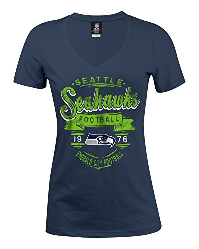 NFL Seattle Seahawks Women's Baby Jersey Short Sleeve V-Neck Tee, Medium, Navy (Seahawk Sweatshirt Women)