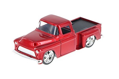 (Jada 1955 Chevy Stepside Pickup Truck, Red 97011 - 1/32 Scale Diecast Model Toy Car)